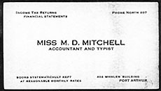 Business cards of Dorothea Mitchell while in Port Arthur