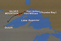 Drawing of map of Northwestern Ontario, Canada, showing where Silver Mountain is geographically located.